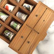 画像4: イギリス 英国製 木製シンブルディスプレイラック+英国陶製シンブル 16個セット (4)