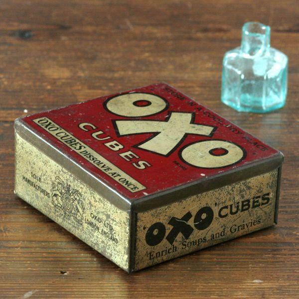 画像1: イギリス アンティーク缶 OXO CUBES(オクソ缶) (1)