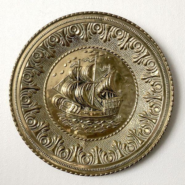画像1: イギリス 1950-1970年代 真鍮ブラス 飾り皿 壁飾り 帆船 29.7cm (1)